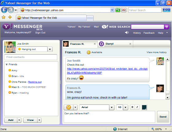 Chat yahoo messenger online room instant messaging