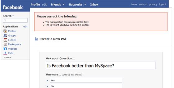 Facebook Polls: Don't Mention The Competition   TechCrunch
