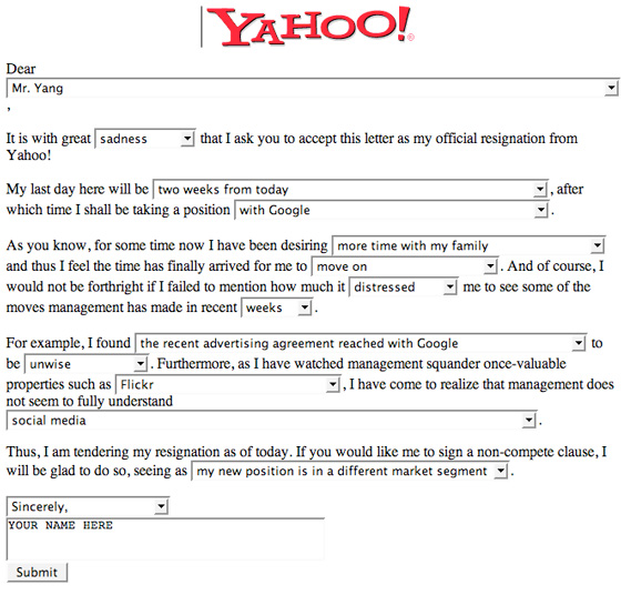 Which svp at yahoo quit today techcrunch popular that wired contributing editor mat honan created a do it yourself resignation letter just fill in the blanks and hit submit nice subject line expocarfo