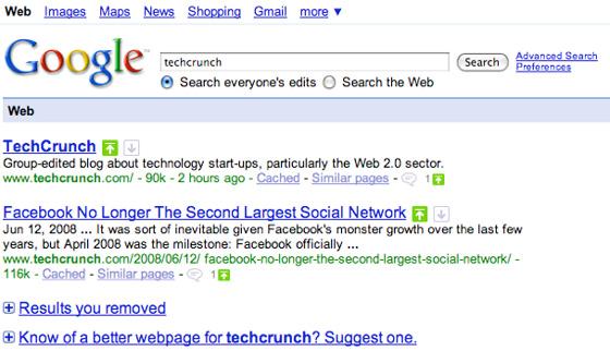 Test interface Google