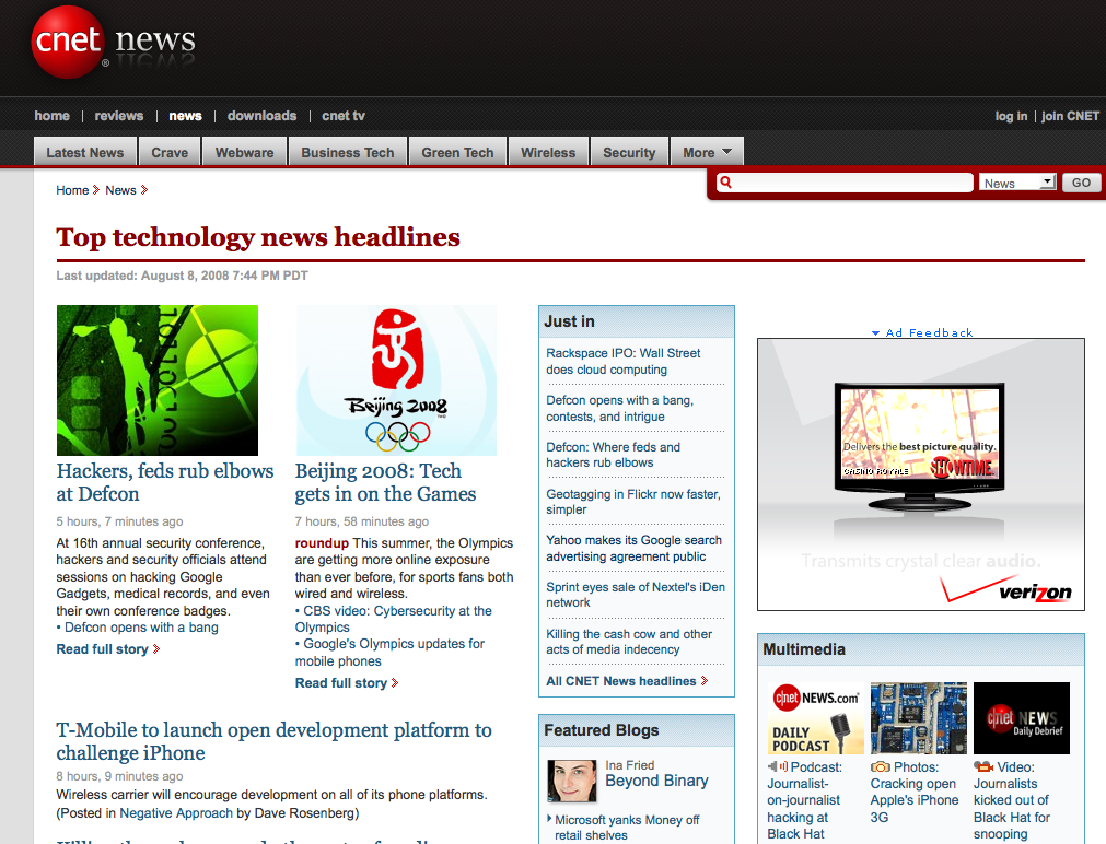 Cbs Interactive To Change Its Colors And Cnet Tests A New Design With Blogs Top And Center Techcrunch