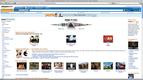 Amazon VOD Front Page