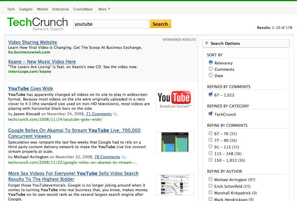Techcrunch S New Search Engine Ed