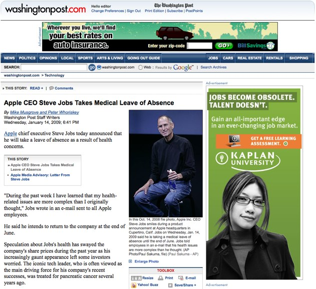 Steve Jobs Become Obsolete | Contextual Advertising Fail [PIC]