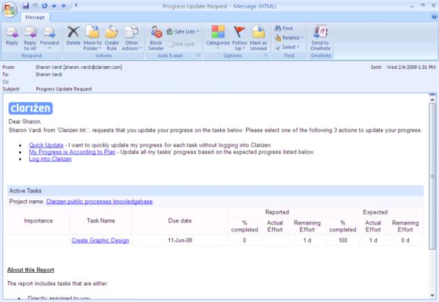 Clarizen Email Notification