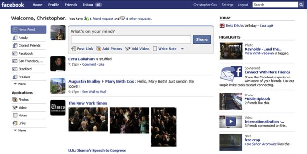 Screen Shots The New Facebook Home Page Techcrunch