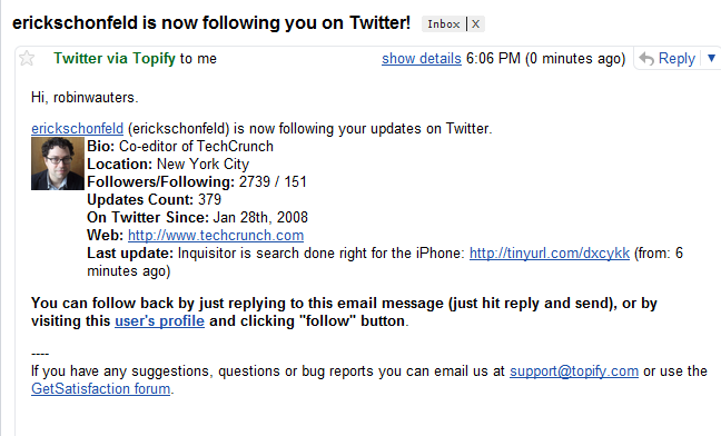 Updating twitter via email