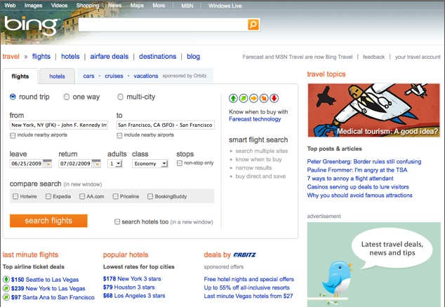 Bing Travel Indicator : Bing travel arrives techcrunch