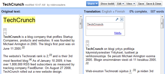 Google Translator Kit: Automated Translation Meets Crowdsourcing