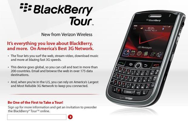 Verizon Wireless BlackBerry Tour 9630 goes live   TechCrunch
