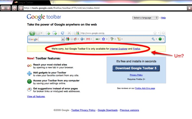 Google Toolbar Fail