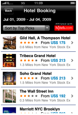 WorldMate Hotel Booking