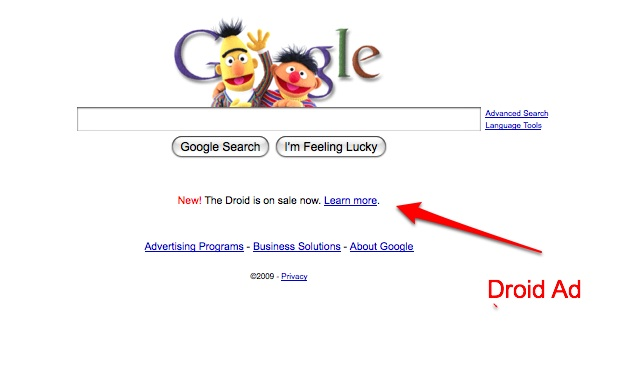 Google Pushes Droid With Rare Ad On Homepage | TechCrunch