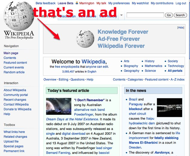 Wikipedia Runs Ads Highlighting Their No-Ad Policy