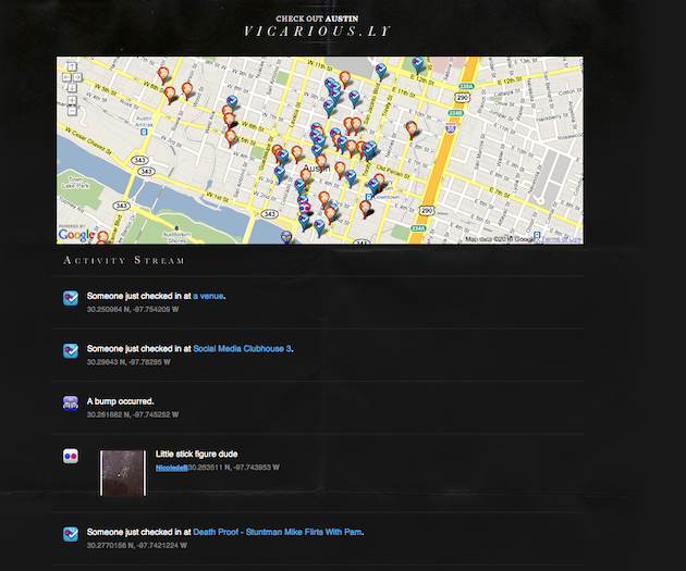 So Vicarious: Vicarious.ly: SimpleGeo's One Location-Based Stream To
