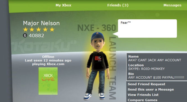 La Terreur: Major Nelson's Xbox Live account hacked | TechCrunch