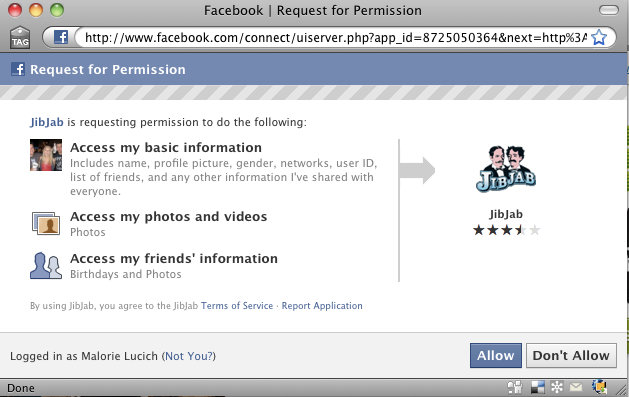Facebook application app