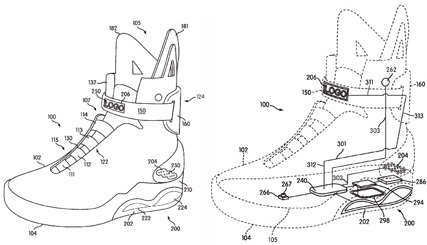 nike patenting the power laces from back to the future ii
