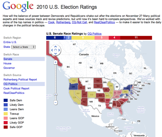 Google Deciphers The Balance Of Power Across The Us Techcrunch - Google-us-election-map