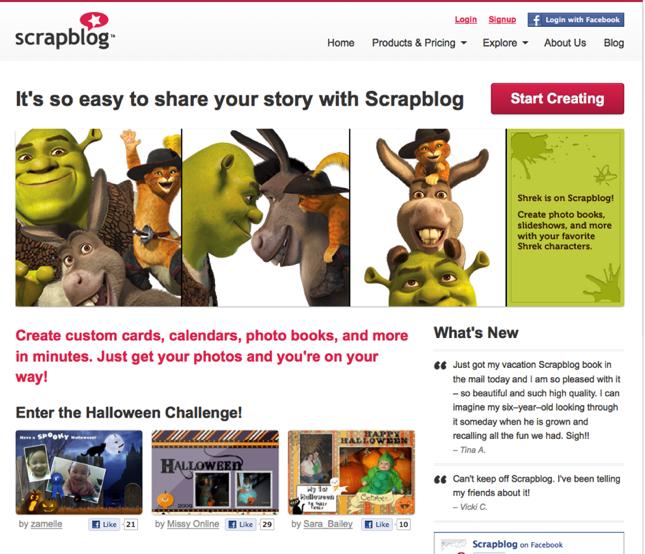 Scrapblog Adds Shrek To Online Scrapbooks Techcrunch
