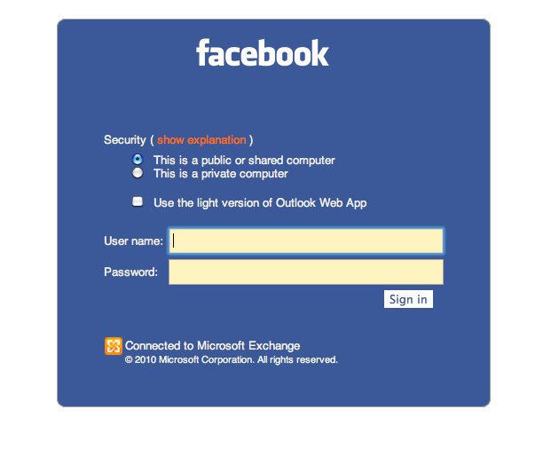 Why is mailfacebook pointing to an outlook web app login this stopboris