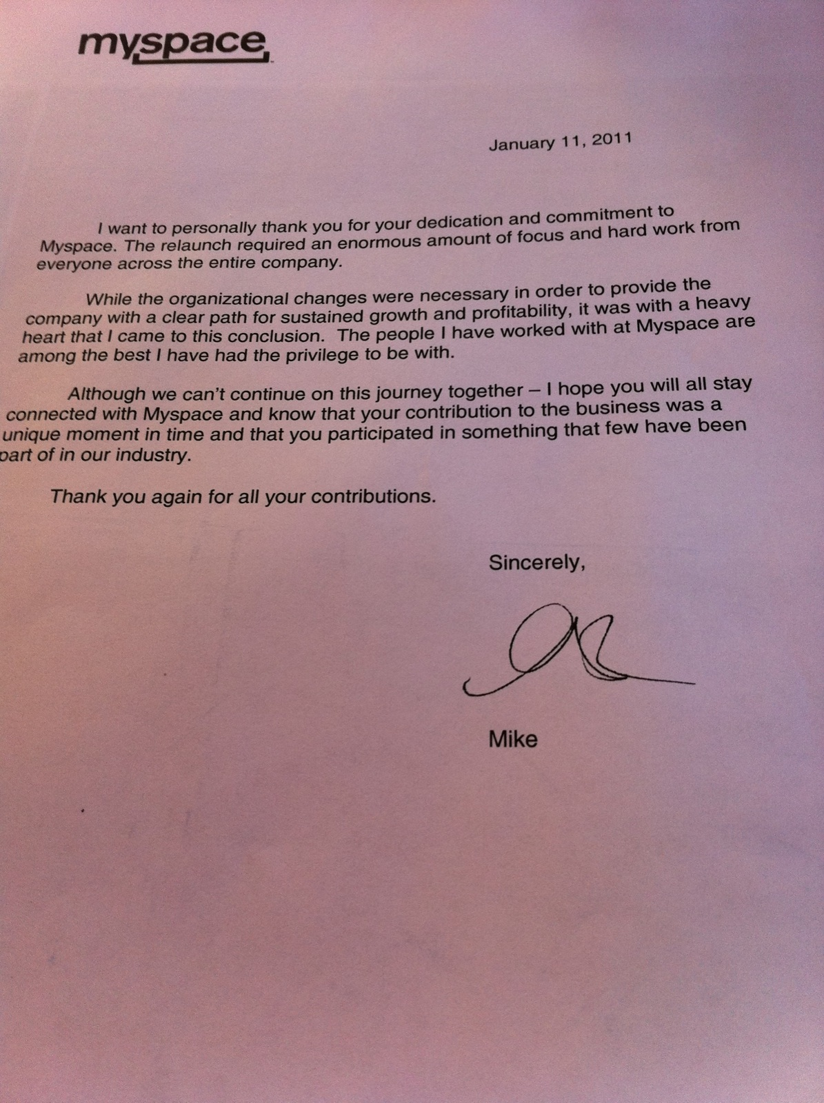Mike Jones Kiss Off Letter To Laid Off Myspacers We Cant
