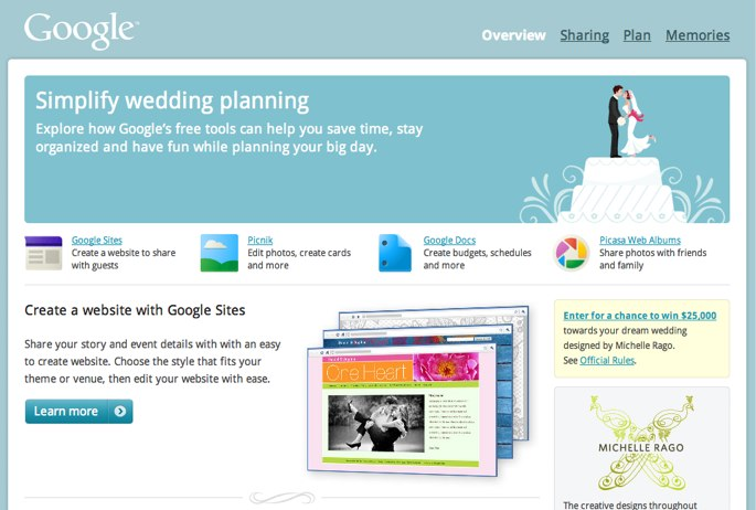 Google Is Making A Big Push Into The Wedding Planning Scene Today Launching Full Fledged Portal For Brides And Grooms To Be Weddings