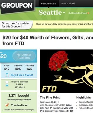 Valentines Day Bait & Switch: Groupon Must Avoid Becoming