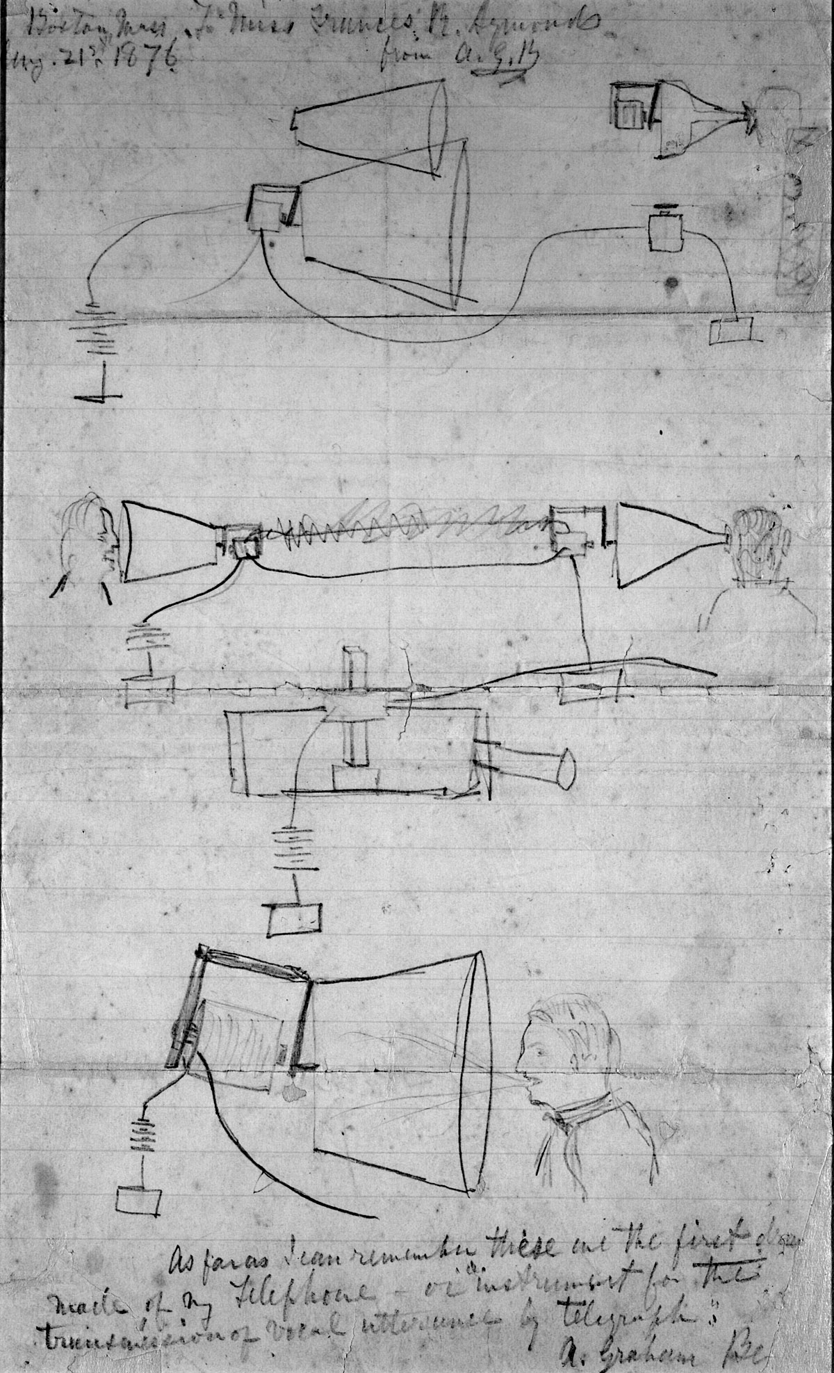 First ever sketch of alexander graham bells telephone concept the description says malvernweather Gallery