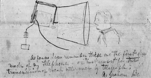 First Ever Sketch Of Alexander Graham Bell's Telephone