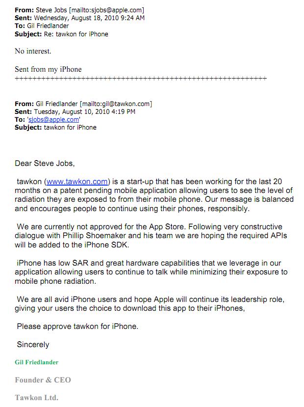 Steve Jobs To Tawkon:   Steve Jobs Resume