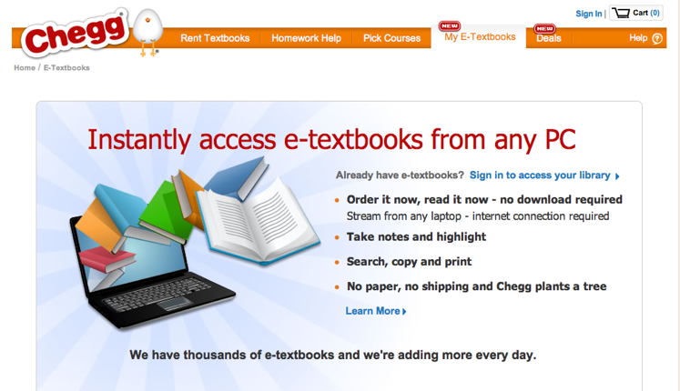 Textbook Rental Giant Chegg Now Offers HTML5 Digital Books