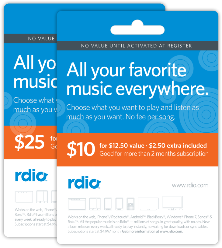 iTunes Rival Rdio Launches Gift Cards, Available Online And