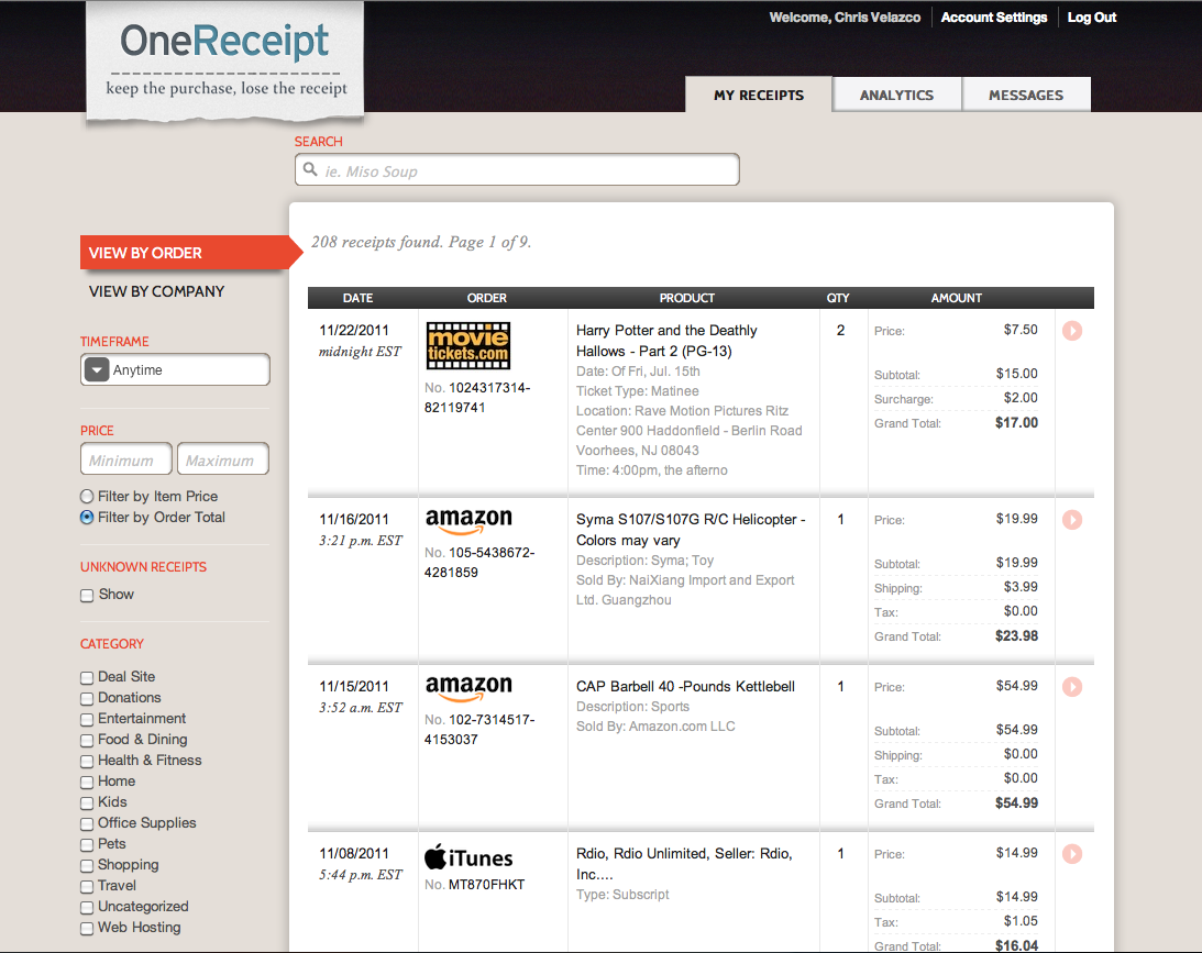 onereceipt tracks your online purchases takes aim at lemon and