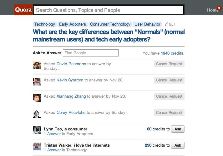 """Quora Gamifies: Credits And """"Ask To Answer"""" Suggestions Live For"""