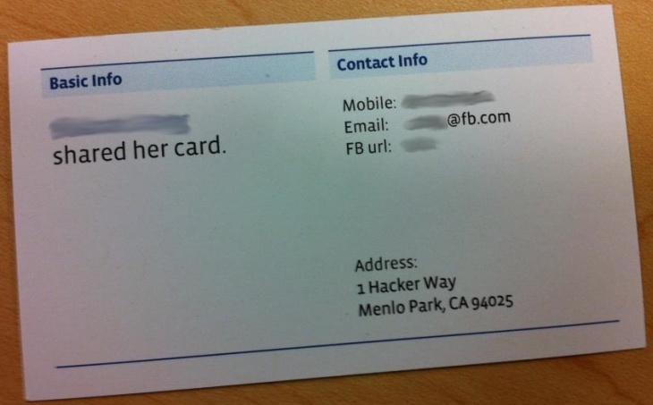 The nerdy address of facebooks new headquarters 1 hacker way 1 hacker way facebook business card blurred colourmoves