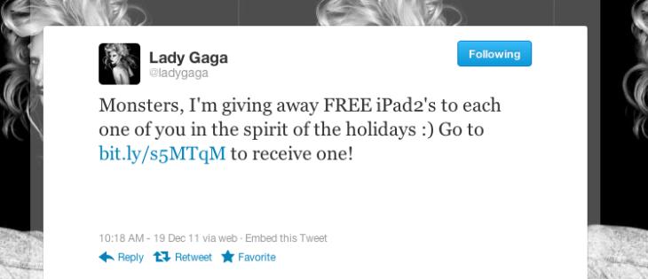 Lady Gaga's Twitter Hacked, 17M Followers Promised Free iPad
