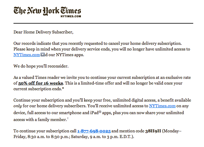 Crazy Spam Email About Print Cancellation Is Actually From The New York Times Techcrunch