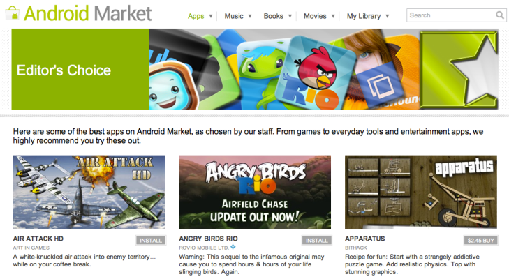 "Android Market's ""Featured Apps"" Seeing Explosive Download"