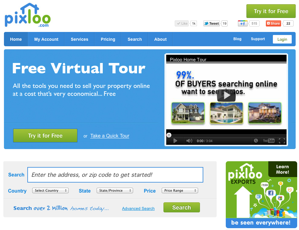 Pixloo helps you sell your home with free virtual tours for Free virtual home tours online
