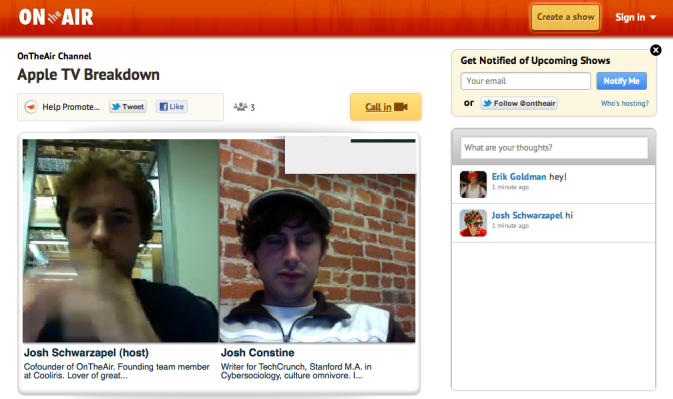 First Look Ontheair S Video Call In Show Platform Makes