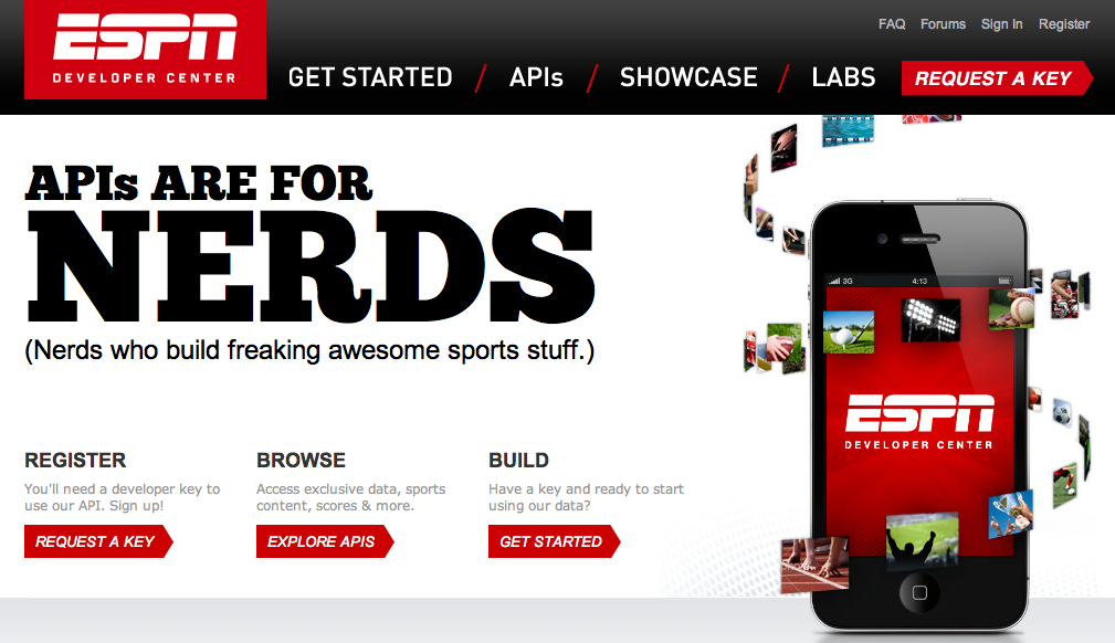 Espn Starts Opening The Doors To Its Data With Developer Center First Api Program Techcrunch