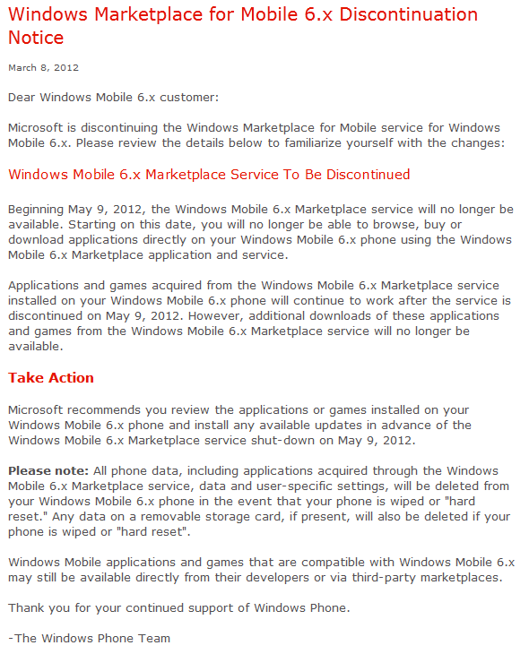 After 2+ Years Of Serving Apps, Windows Mobile Marketplace Will Die