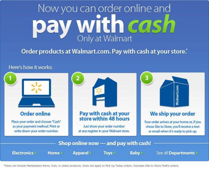 "walmart adds ""pay with cash"" for online shoppers at walmart.com ..."