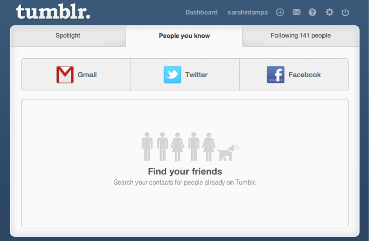 tumblr s new lookup page lets you find friends via facebook and