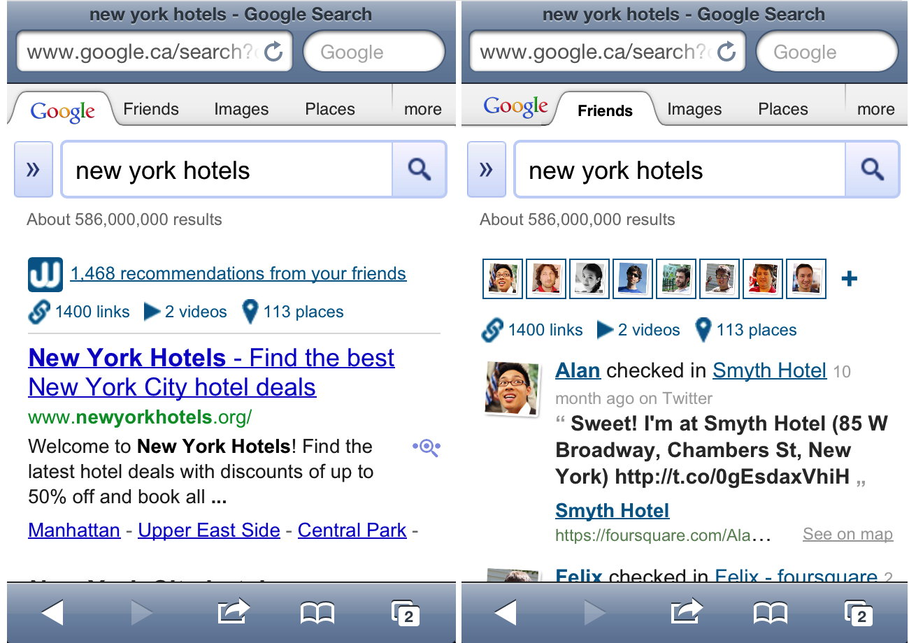 search safari iphone wajam injects its social search results into maps 5538