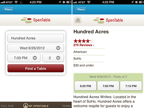 Foursquare Partners With OpenTable To Make Dinner Reservations - Open table dinner