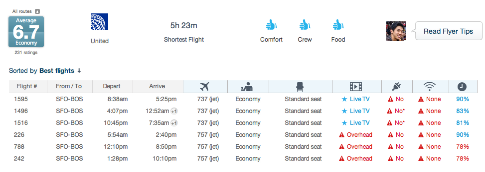 Routehappy SFO- BOS Screen Shot
