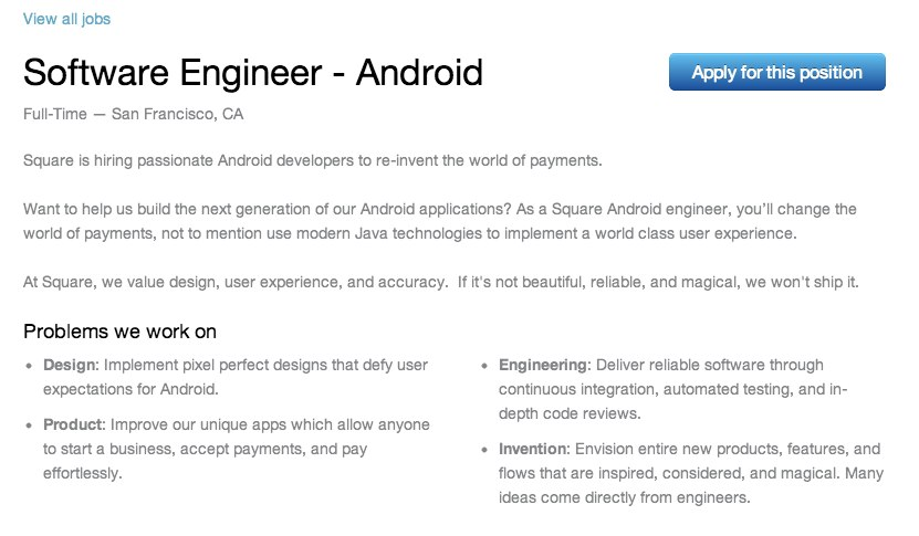 Software Engineer – Android – Careers at Square-1 – TechCrunch
