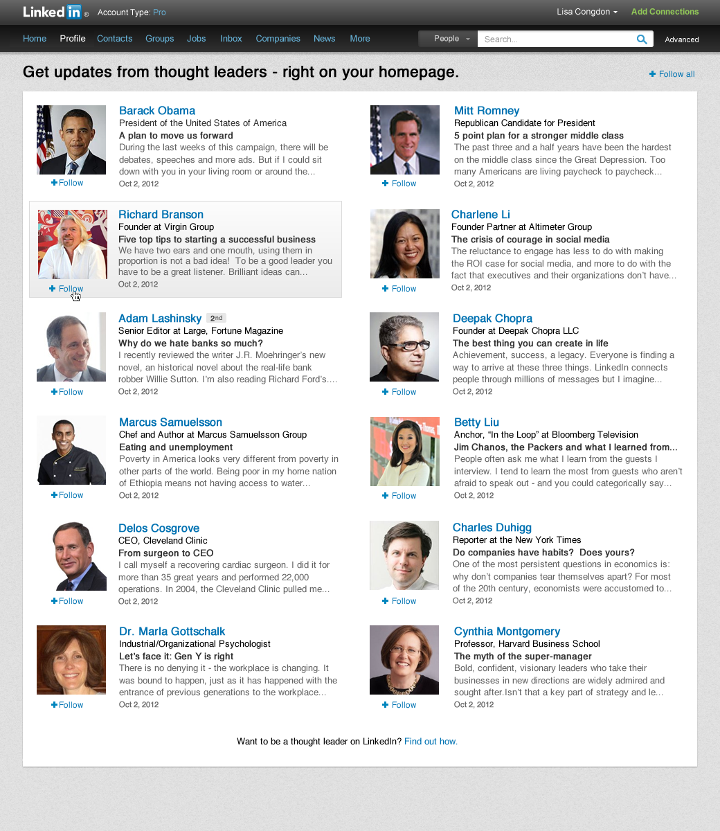 LinkedIn Allows You To Follow Key Influencers On The Network